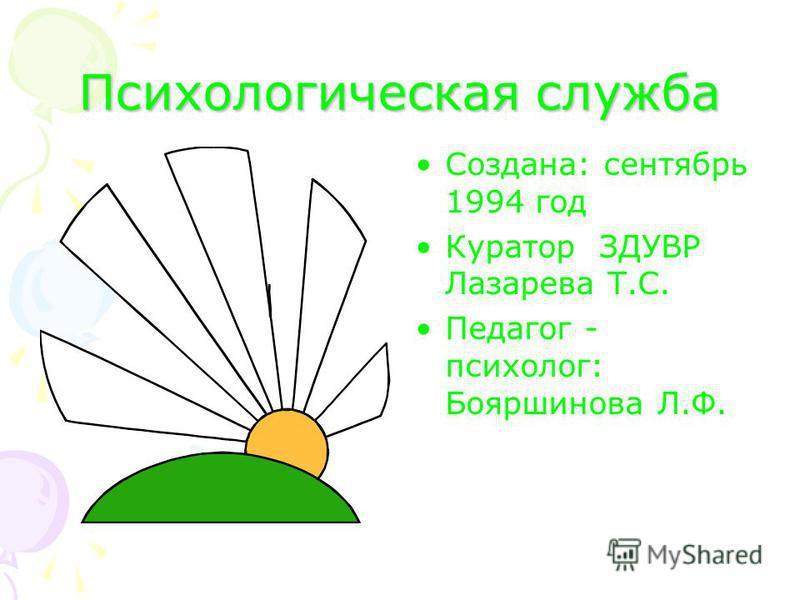 Психологическая служба Создана: сентябрь 1994 год Куратор ЗДУВР Лазарева Т.С. Педагог - психолог: Бояршинова Л.Ф.
