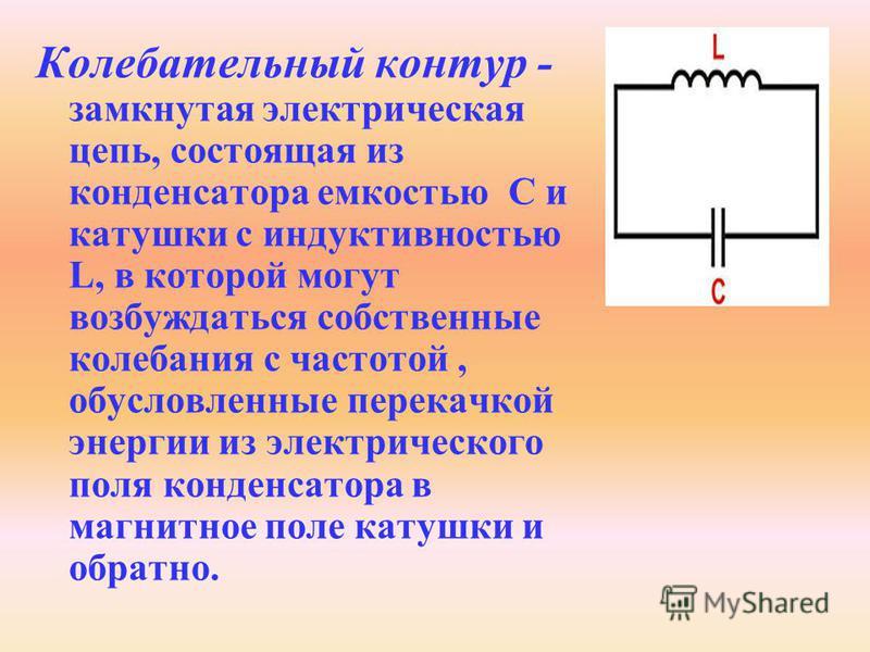 Колебательный контур - замкнутая электрическая цепь, состоящая из конденсатора емкостью С и катушки с индуктивностью L, в которой могут возбуждаться собственные колебания с частотой, обусловленные перекачкой энергии из электрического поля конденсатор