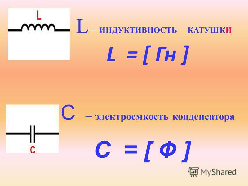 L = [ Гн ] L – ИНДУКТИВНОСТЬ КАТУШКИ C – электроемкость конденсатора C = [ Ф ]