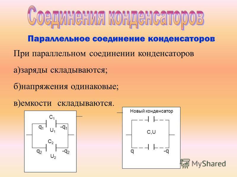 Параллельное соединение конденсаторов При параллельном соединении конденсаторов а)заряды складываются; б)напряжения одинаковые; в)емкости складываются. q1q1 U1U1 -q 1 C 2 q2q2 -q 2 U2U2 C1C1 C,U q-q Новый конденсатор