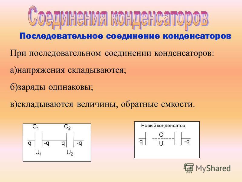 Последовательное соединение конденсаторов При последовательном соединении конденсаторов: а)напряжения складываются; б)заряды одинаковы; в)складываются величины, обратные емкости. C1C1 C2C2 q-qq U1U1 U2U2 C q U Новый конденсатор