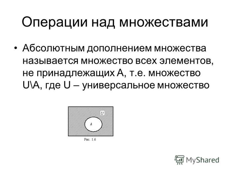 Операции над множествами Абсолютным дополнением множества называется множество всех элементов, не принадлежащих A, т.е. множество U\A, где U – универсальное множество