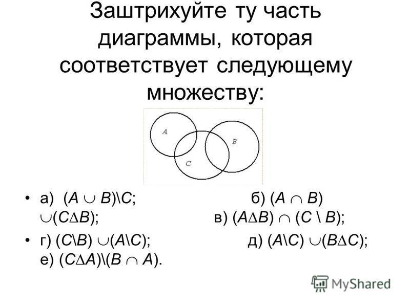Заштрихуйте ту часть диаграммы, которая соответствует следующему множеству: а) (А В)\С; б) (А В) (С В); в) (А В) (С \ В); г) (С\В) (А\С); д) (А\С) (В С); е) (С А)\(В А).