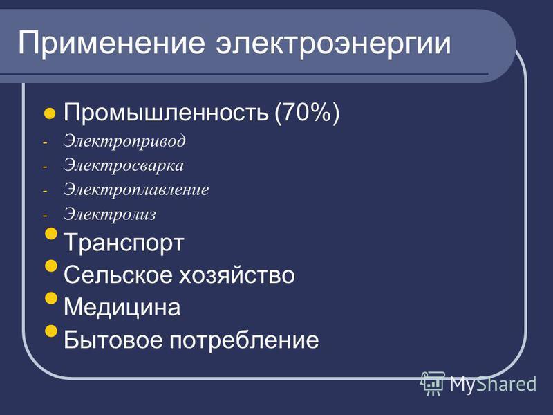 Применение электроэнергии Промышленность (70%) - Электропривод - Электросварка - Электроплавление - Электролиз Транспорт Сельское хозяйство Медицина Бытовое потребление
