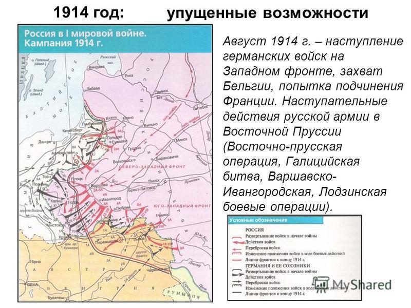 1914 год: Август 1914 г. – наступление германских войск на Западном фронте, захват Бельгии, попытка подчинения Франции. Наступательные действия русской армии в Восточной Пруссии (Восточно-прусская операция, Галицийская битва, Варшавско- Ивангородская