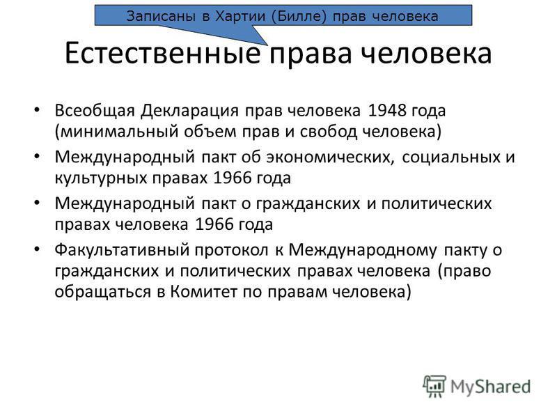 Естественные права человека Всеобщая Декларация прав человека 1948 года (минимальный объем прав и свобод человека) Международный пакт об экономических, социальных и культурных правах 1966 года Международный пакт о гражданских и политических правах че