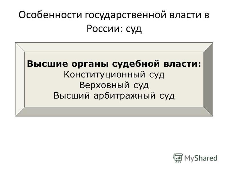 Особенности государственной власти в России: суд Высшие органы судебной власти: Конституционный суд Верховный суд Высший арбитражный суд