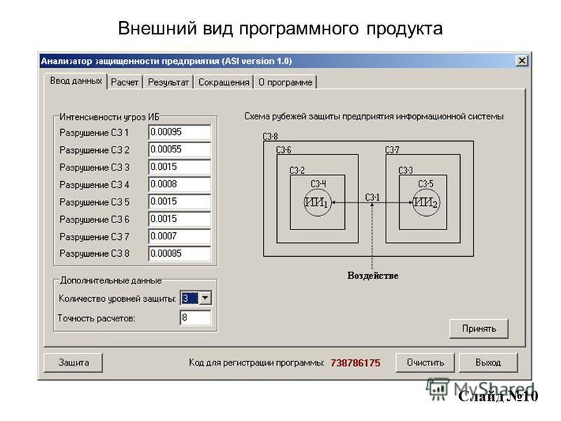 Внешний вид программного продукта Слайд 10