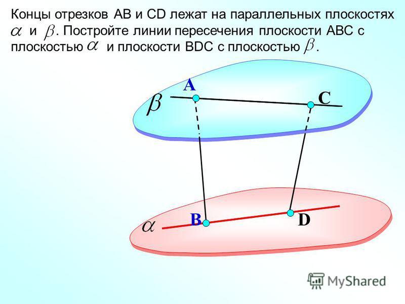 D А Концы отрезков АВ и СD лежат на параллельных плоскостях и. Постройте линии пересечения плоскости АВС с плоскостью и плоскости ВDC с плоскостью. В С