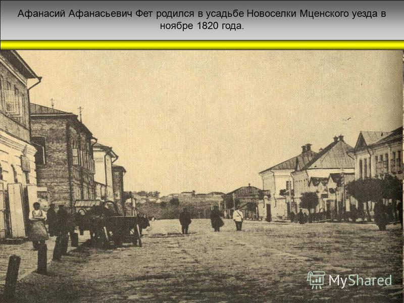 Афанасий Афанасьевич Фет родился в усадьбе Новоселки Мценского уезда в ноябре 1820 года.