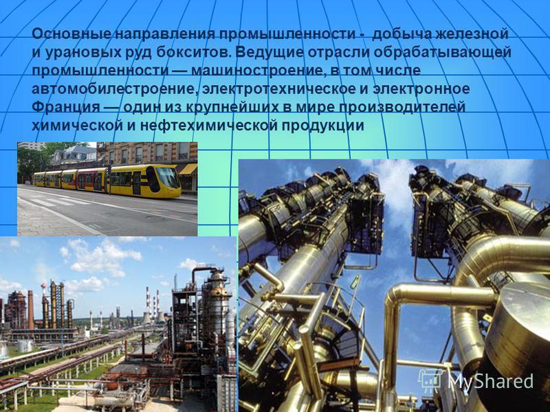 Основные направления промышленности - добыча железной и урановых руд бокситов. Ведущие отрасли обрабатывающей промышленности машиностроение, в том числе автомобилестроение, электротехническое и электронное Франция один из крупнейших в мире производит