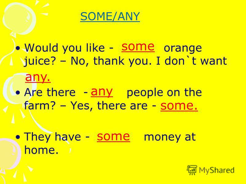 SOME/ANY Would you like - orange juice? – No, thank you. I don`t want Are there - people on the farm? – Yes, there are - They have - money at home. some any. any some. some