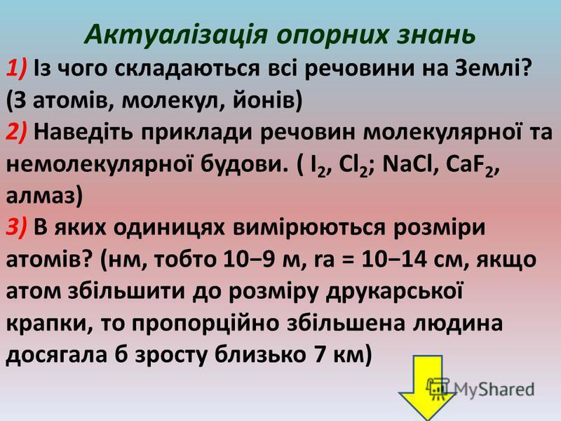 Актуалізація опорних знань 1) Із чого складаються всі речовини на Землі? (З атомів, молекул, йонів) 2) Наведіть приклади речовин молекулярної та немолекулярної будови. ( I 2, Cl 2 ; NaCl, CaF 2, алмаз) 3) В яких одиницях вимірюються розміри атомів? (
