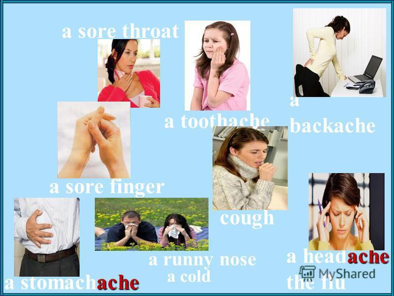 a sore throat ache a stomachache ache a headache the flu a toothache a runny nose a cold a sore finger a backache cough
