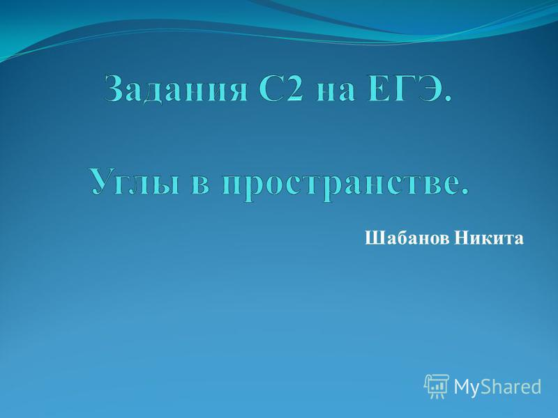 Шабанов Никита
