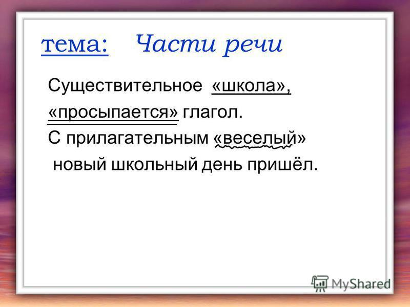 тема: Части речи Существительное «школа», «просыпается» глагол. С прилагательным «веселый» новый школьный день пришёл.
