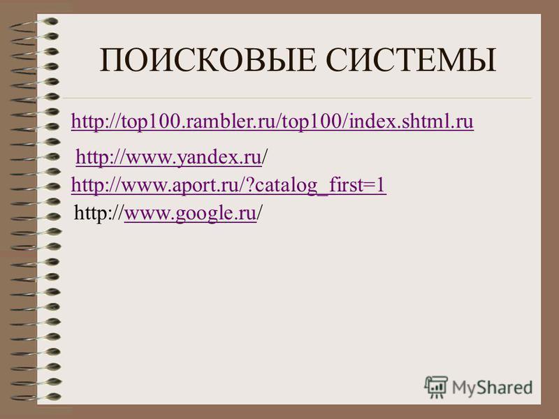 ПОИСКОВЫЕ СИСТЕМЫ http://top100.rambler.ru/top100/index.shtml.ru http://www.yandex.ruhttp://www.yandex.ru/ http://www.aport.ru/?catalog_first=1 http://www.google.ru/www.google.ru