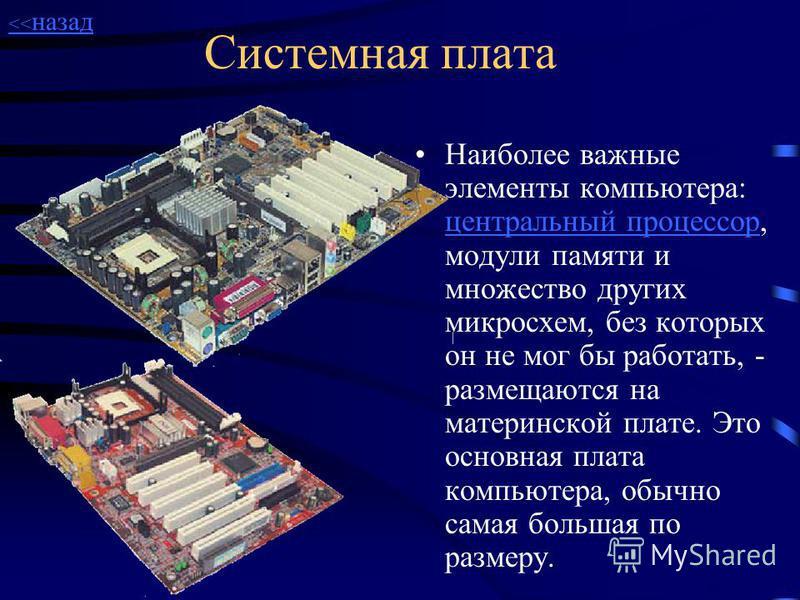 Системный блок Наиболее весомой частью любого компьютера является системный блок. Внутри него расположены блок питания, плата с центральным процессором (материнская плата), видеоадаптер,память (RAM, ROM), жесткий диск, дисководы гибких дисков, звуков