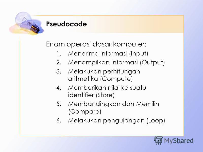 Pseudocode Enam operasi dasar komputer: 1.Menerima informasi (Input) 2.Menampilkan Informasi (Output) 3.Melakukan perhitungan aritmetika (Compute) 4.Memberikan nilai ke suatu identifier (Store) 5.Membandingkan dan Memilih (Compare) 6.Melakukan pengul