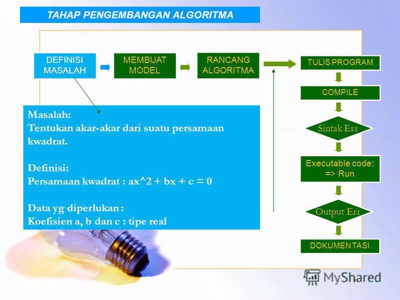 7 DEFINISI MASALAH MEMBUAT MODEL RANCANG ALGORITMA TULIS PROGRAM COMPILE Sintak Err Executable code: => Run Output Err DOKUMEN TASI Masalah: Tentukan akar-akar dari suatu persamaan kwadrat. Definisi: Persamaan kwadrat : ax^2 + bx + c = 0 Data yg dipe