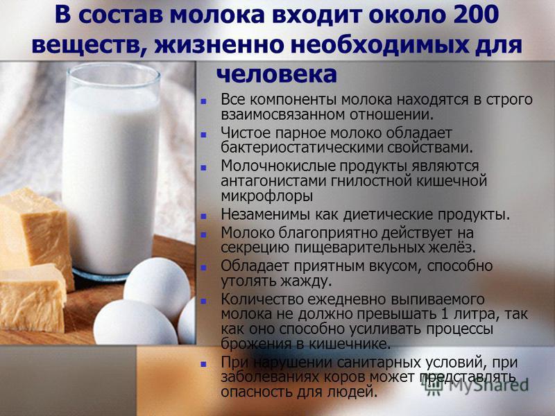 В состав молока входит около 200 веществ, жизненно необходимых для человека Все компоненты молока находятся в строго взаимосвязанном отношении. Чистое парное молоко обладает бактериостатическими свойствами. Молочнокислые продукты являются антагониста