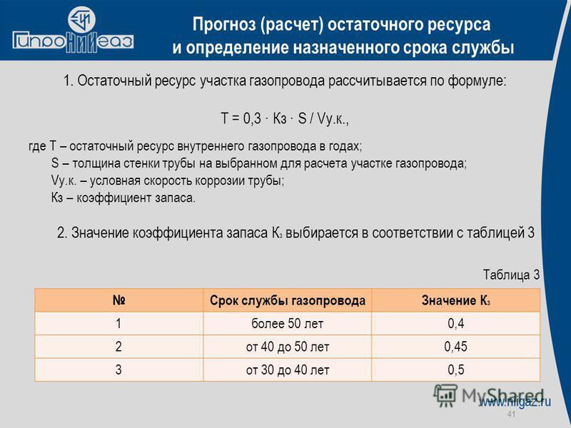 41 Прогноз (расчет) остаточного ресурса и определение назначенного срока службы 1. Остаточный ресурс участка газопровода рассчитывается по формуле: Т = 0,3 · Кз · S / Vу.к., где Т – остаточный ресурс внутреннего газопровода в годах; S – толщина стенк
