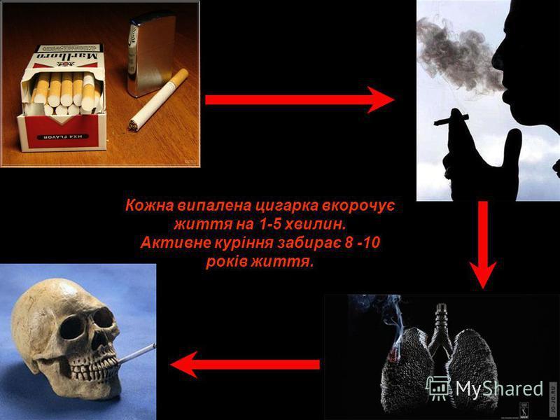 Кожна випалена цигарка вкорочує життя на 1-5 хвилин. Активне куріння забирає 8 -10 років життя. Кожна випалена цигарка вкорочує життя на 1-5 хвилин. Активне куріння забирає 8 -10 років життя.