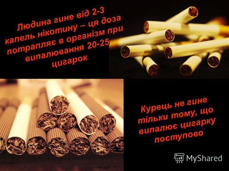 Людина гине від 2-3 капель нікотину – ця доза потрапляє в організм при випалювання 20-25 цигарок Л ю д и н а г и н е в і д 2 - 3 к а п е л ь н і к о т и н у – ц я д о з а п о т р а п л я є в о р г а н і з м п р и в и п а л ю в а н н я 2 0 - 2 5 ц и г