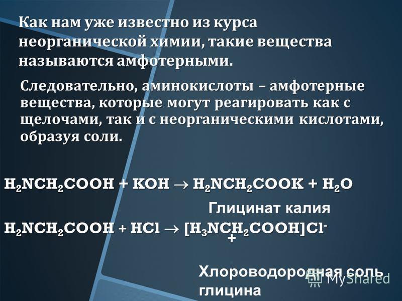 Как нам уже известно из курса неорганической химии, такие вещества называются амфотерными. Следовательно, аминокислоты – амфотерные вещества, которые могут реагировать как с щелочами, так и с неорганическими кислотами, образуя соли. H 2 NCH 2 COOH +