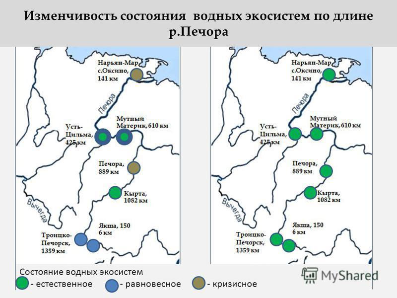Состояние водных экосистем - естественное - равновесное - кризисное Изменчивость состояния водных экосистем по длине р.Печора