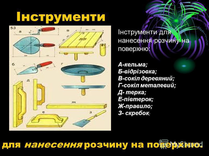 Інструменти для нанесення розчину на поверхню. Інструменти для нанесення розчину на поверхню: А-кельма; Б-відрізовка; В-сокіл деревяний; Г-сокіл металевий; Д- терка; Е-півтерок; Ж-правило; З- скребок ;