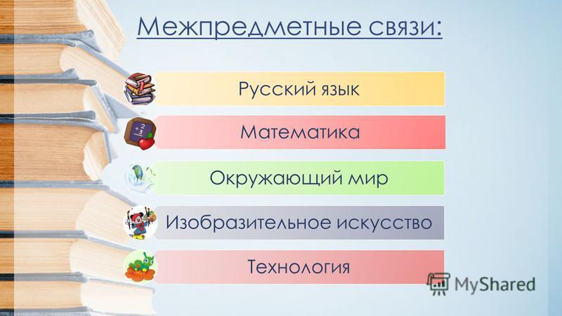 Межпредметные связи: Русский язык Математика Окружающий мир Изобразительное искусство Технология