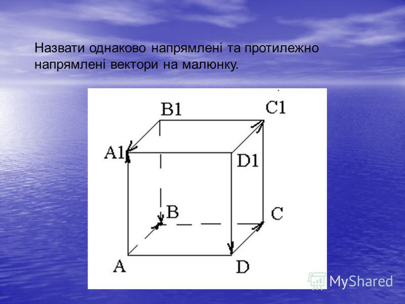 Назвати однаково напрямлені та протилежно напрямлені вектори на малюнку.