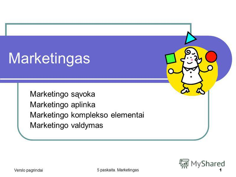 Verslo pagrindai 5 paskaita. Marketingas 1 Marketingas Marketingo sąvoka Marketingo aplinka Marketingo komplekso elementai Marketingo valdymas