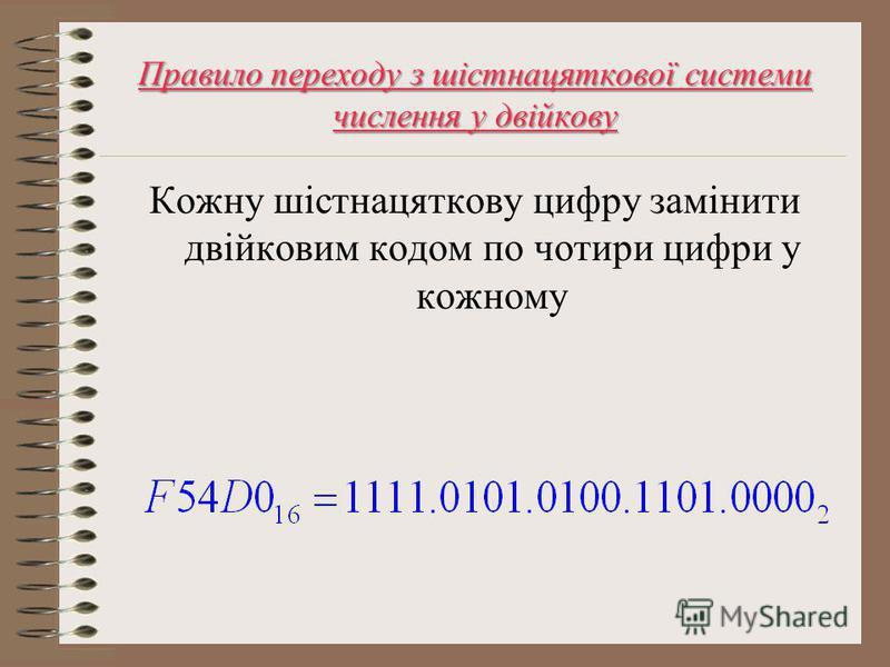 Правило переходу з шістнацяткової системи числення у двійкову Кожну шістнацяткову цифру замінити двійковим кодом по чотири цифри у кожному