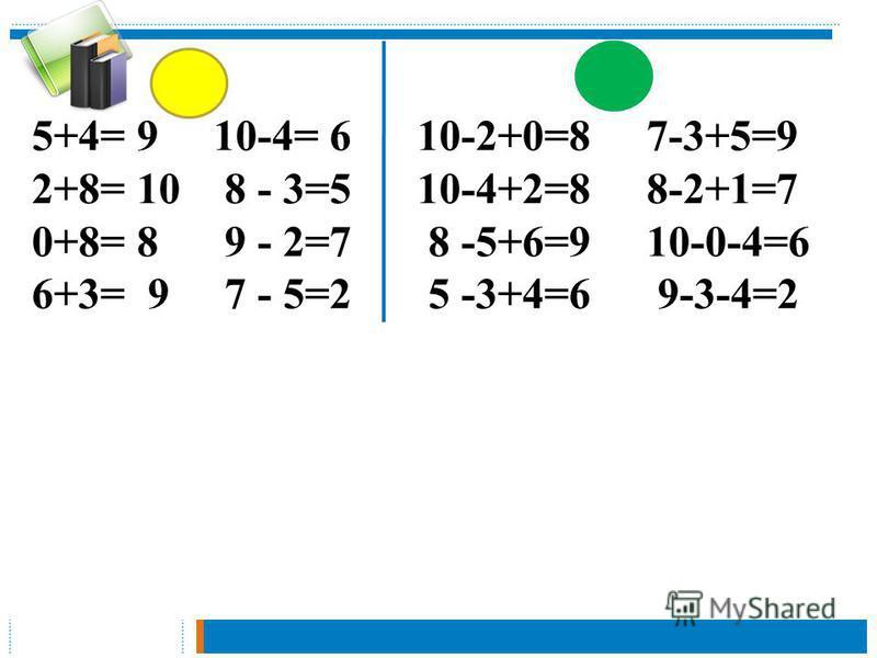5+4= 9 10-4= 6 10-2+0=8 7-3+5=9 2+8= 10 8 - 3=5 10-4+2=8 8-2+1=7 0+8= 8 9 - 2=7 8 -5+6=9 10-0-4=6 6+3= 9 7 - 5=2 5 -3+4=6 9-3-4=2