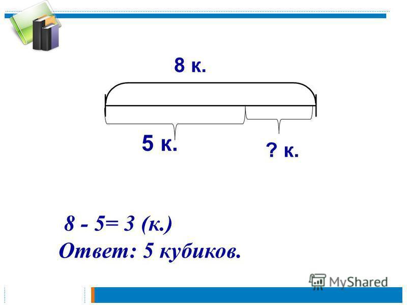 5 к. 8 к. 8 - 5= 3 (к.) Ответ: 5 кубиков. ? к.
