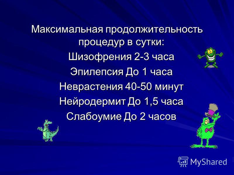 Максимальная продолжительность процедур в сутки: Шизофрения 2-3 часа Эпилепсия До 1 часа Неврастения 40-50 минут Нейродермит До 1,5 часа Слабоумие До 2 часов