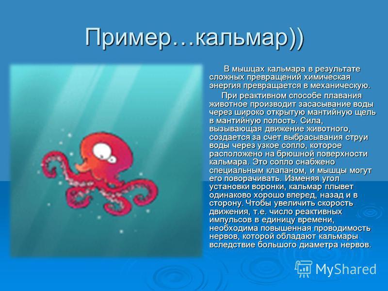 Пример…кальмар)) В мышцах кальмара в результате сложных превращений химическая энергия превращается в механическую. В мышцах кальмара в результате сложных превращений химическая энергия превращается в механическую. При реактивном способе плавания жив