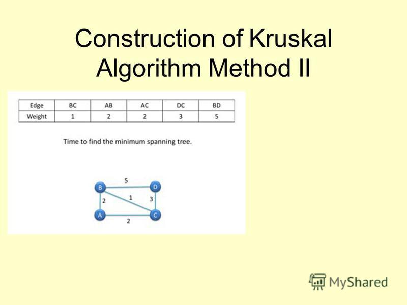 Construction of Kruskal Algorithm Method II