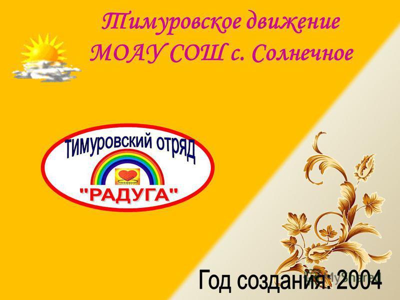 Тимуровское движение МОАУ СОШ с. Солнечное
