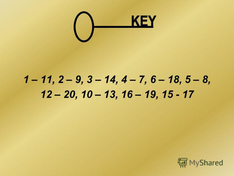 1 – 11, 2 – 9, 3 – 14, 4 – 7, 6 – 18, 5 – 8, 12 – 20, 10 – 13, 16 – 19, 15 - 17