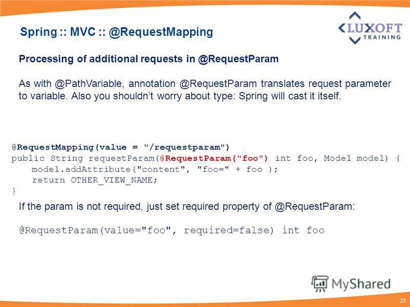 33 Processing of additional requests in @RequestParam As with @PathVariable, annotation @RequestParam translates request parameter to variable. Also you shouldnt worry about type: Spring will cast it itself. If the param is not required, just set req
