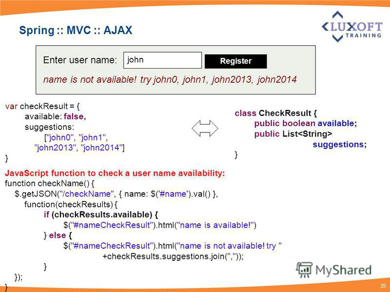 35 Spring :: MVC :: AJAX var checkResult = { available: false, suggestions: [