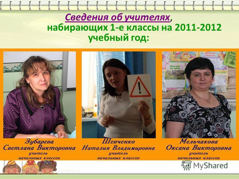 Сведения об учителях, набирающих 1-е классы на 2011-2012 учебный год: