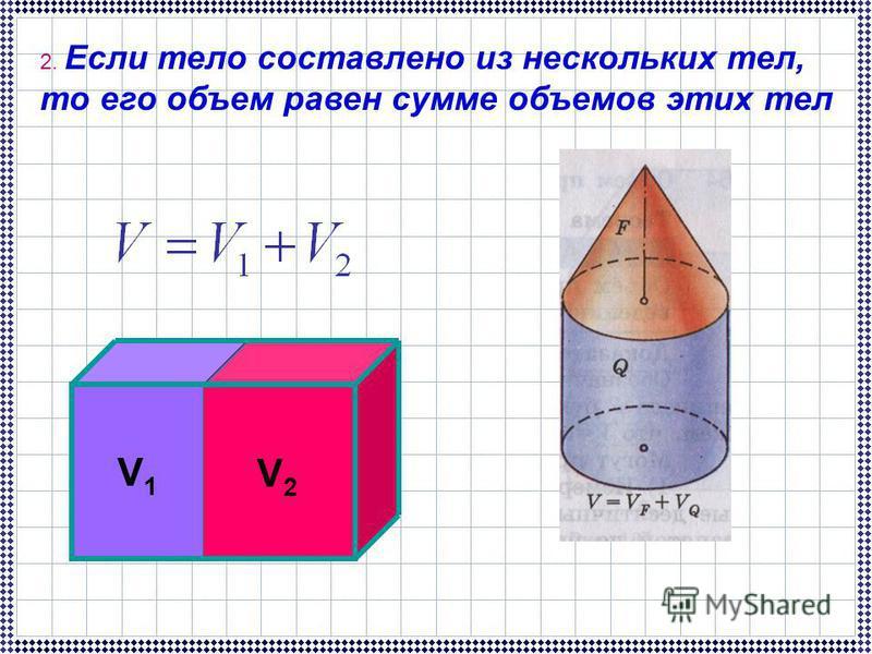 V1V1 V2V2 2. Если тело составлено из нескольких тел, то его объем равен сумме объемов этих тел