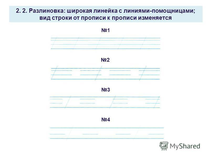2. 2. Разлиновка: широкая линейка с линиями-помощницами; вид строки от прописи к прописи изменяется 1 2 3 4