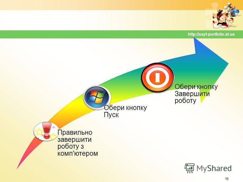 16 http://sayt-portfolio.at.ua Правильно завершити роботу з комп'ютером Обери кнопку Пуск Обери кнопку Завершити роботу