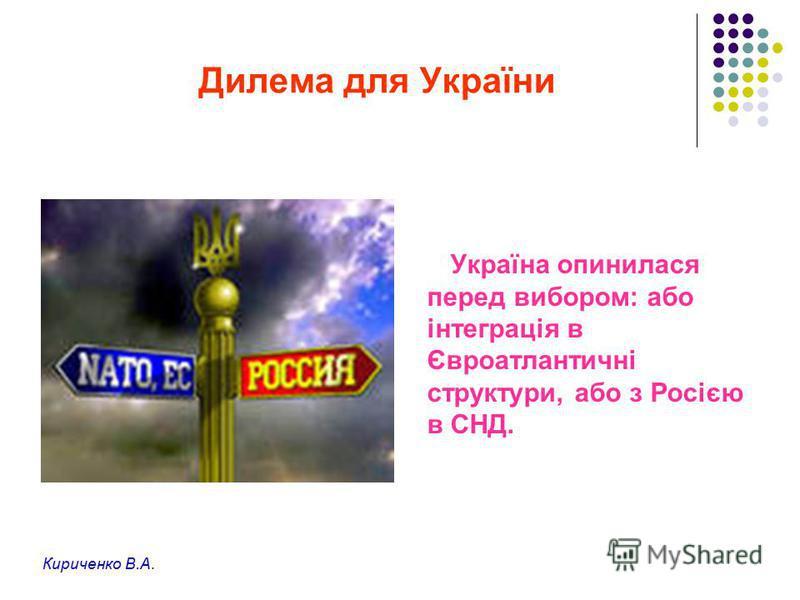 Дилема для України Україна опинилася перед вибором: або інтеграція в Євроатлантичні структури, або з Росією в СНД. Кириченко В.А.