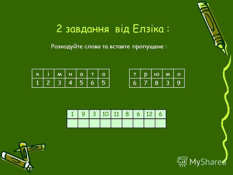 2 завдання від Елзіка : Розкодуйте слова та вставте пропущене : кімна 123 та 4565 рюмто 67839 193108116126
